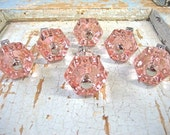 Shabby Chic Pink Glass Knobs (set of 6)