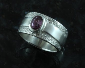 Pink spinel, fine silver ring sz 7.25 - also available by custom order