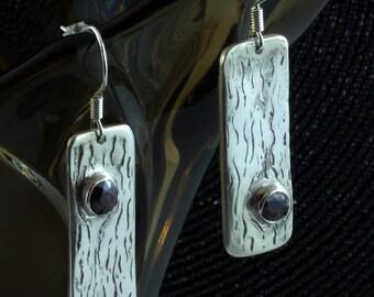 Rhodolite Garnet fine silver earrings