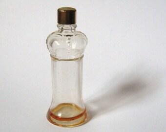DECO 1940s Prince Matchabelli STRADIVARI 1/4 Oz Miniature Glass Crown Perfume Bottle..Brass Cap..Nouveau