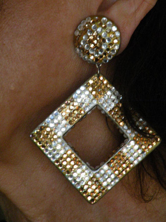 Hoop Earrings - gold and crystal pave - square - hand made