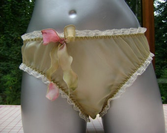 Aqua Silk Lingerie Panty in Sea & Sand Iridescent Silk Chiffon with Ivory Lace