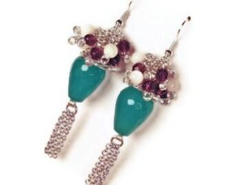 Women's earrings-women's jewelry-blue earrings-gemstone earrings-chained earrings-dangle earrings-long earrings-jade earrings