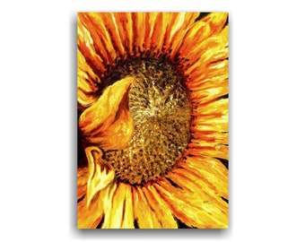 Sunflower original floral oil painting, large painting, orange