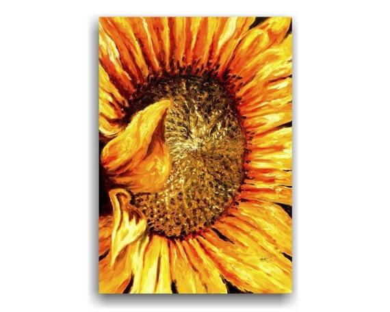 Sunflower original floral oil painting, large painting, orange