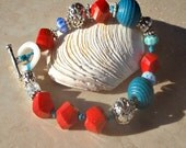 Turquoise & Richly Red Artisan Hand Knotted Beaded Bracelet with Bali Silver Beads and Italian Millefiori Beads