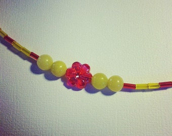 Yellow Jade Necklace With Pink Flowers