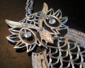 Vintage Silver Owl Pendant- 1950s