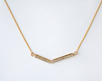 Geometric cubic chevron necklace