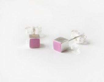 Cube stud earrings, purple sterling silver stud