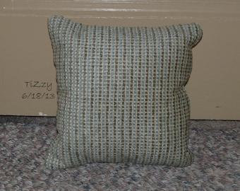 "Muted Blue/Green/Tan Striped Decorative Pillow - 11""x11"""