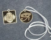 Laser Engraved Gold Mirrored Acrylic Pendant White Leather Necklaces