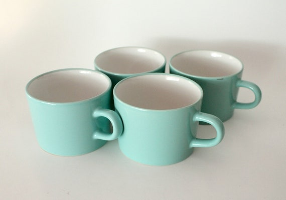Vintage Minty Green Stoneware Japan Mug set