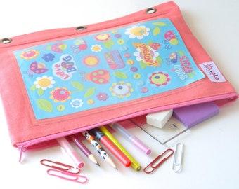 Chicas Binder bolsa, etiqueta engomada estuche, estuche de tela, escuela bolsa de Binder, arte almacenamiento caso rosa Coral