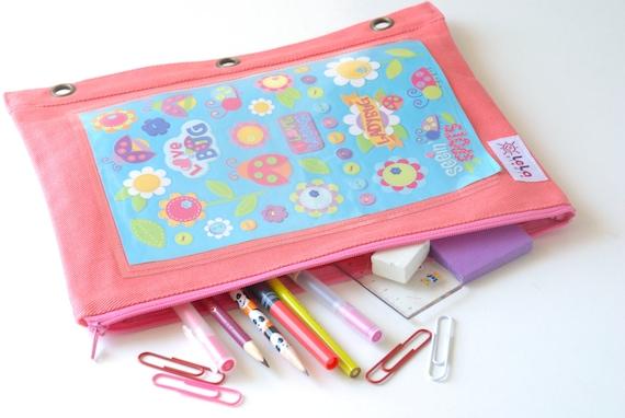 Girls Binder Pouch Sticker Storage Case Fabric Pencil Case
