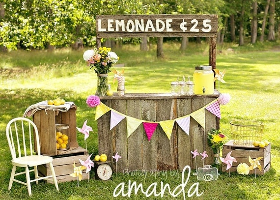 Cheery Pink Lemonade Fabric Pennant Banner in Pink and Yellow with Florals, Stripes and Gingham Check