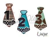 25% off - free shipping -UNCUT mixed NECK TIE monthly onesie stickers (solid,argyle,plaid)