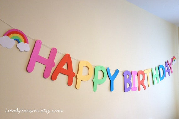 Extra Large Candy Rainbow Happy Birthday garland/ party banner
