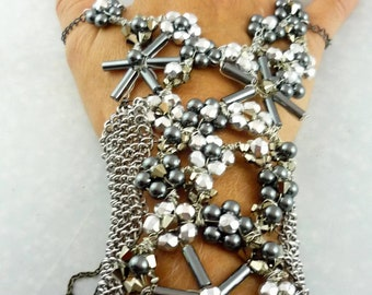 Cufflet with Crystal Flowers, Chainmaille, and Corset Style Lacing Closure -- Robotic Take Over Version Beta