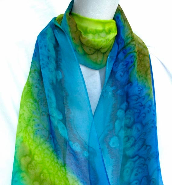 Unique Silk Scarf Hand Painted in Turquoise, Blue, Gold, and Yellow Green