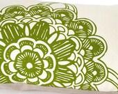 """Handprinted Pillow Cover """"Green ornament""""  - 60 x 30 cm - 100% Linen - Zipper"""