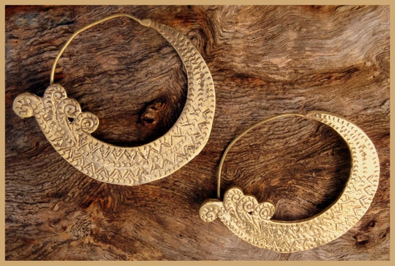 Water Nymph- Hand crafted Brass Gypsy Hoop Earrings (tribal,goddess,festival,ethnic,gold,faerie,fairy,pixie,goa,indian,fairtrade,unique)