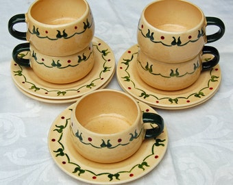 Metlox Poppytrail Homestead Provincial Pattern - Cups and Saucers - Set of 4 (2 sets available)
