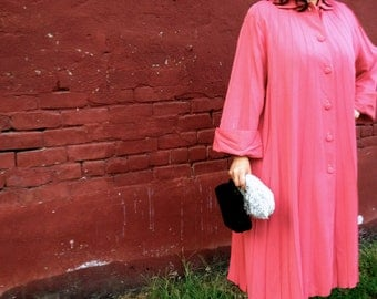 RARE Vintage Debutogs of New York Salmon Pink Long Swing Coat