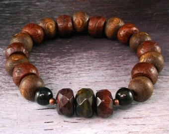 Bodhi Seed Mala Bracelet - Yoga Stretch Bracelet, Yoga Jewelry, Tiger Eye Mala Beads, Om Jewelry, Wrist Mala, Beadwork, Zen Bracelet