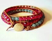 Beaded Leather Bracelet - Fuchsia and Aventurine Beads on Tan Leather