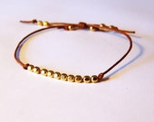 Cord Bracelet with Brass Beads - Tan and Brass