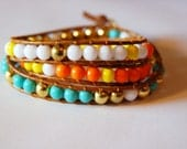Beaded Leather Bracelet - Neon Orange, Highlighter Yellow, Vivid Blue, White, and Brass Beads on Tan Leather