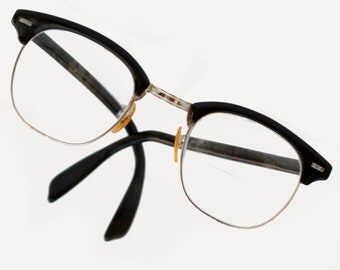 Vintage 50s Buddy Holly Clubmaster style glasses, black with silver/gold trim, made by Shuron