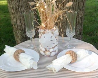 Beach Bride Sea Shell  Wedding Centerpieces Handmade with LED Battery operated branches and artificial sand dollar.