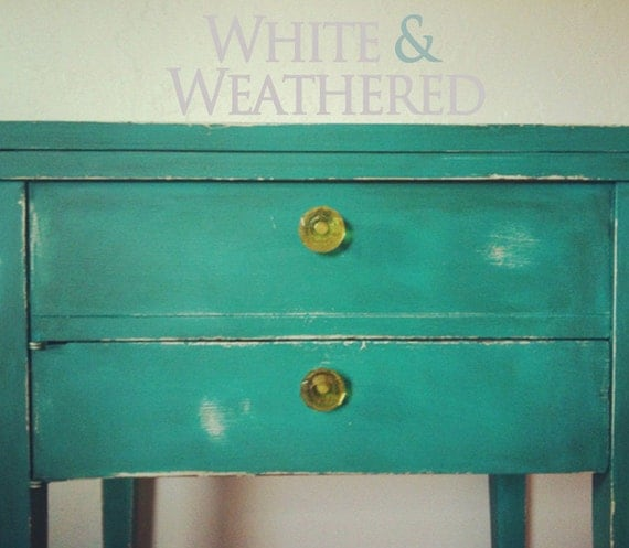 Turquoise Blue Green Distressed Shabby Chic Side End Table
