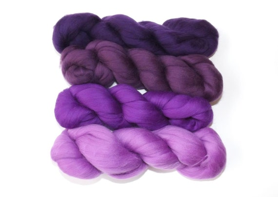 Merino  wool tops - 21 micron - 100g - 3.50z - spinning - felting - Purples