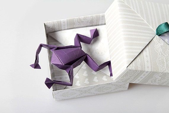 Origami frog with a box. Made to order.