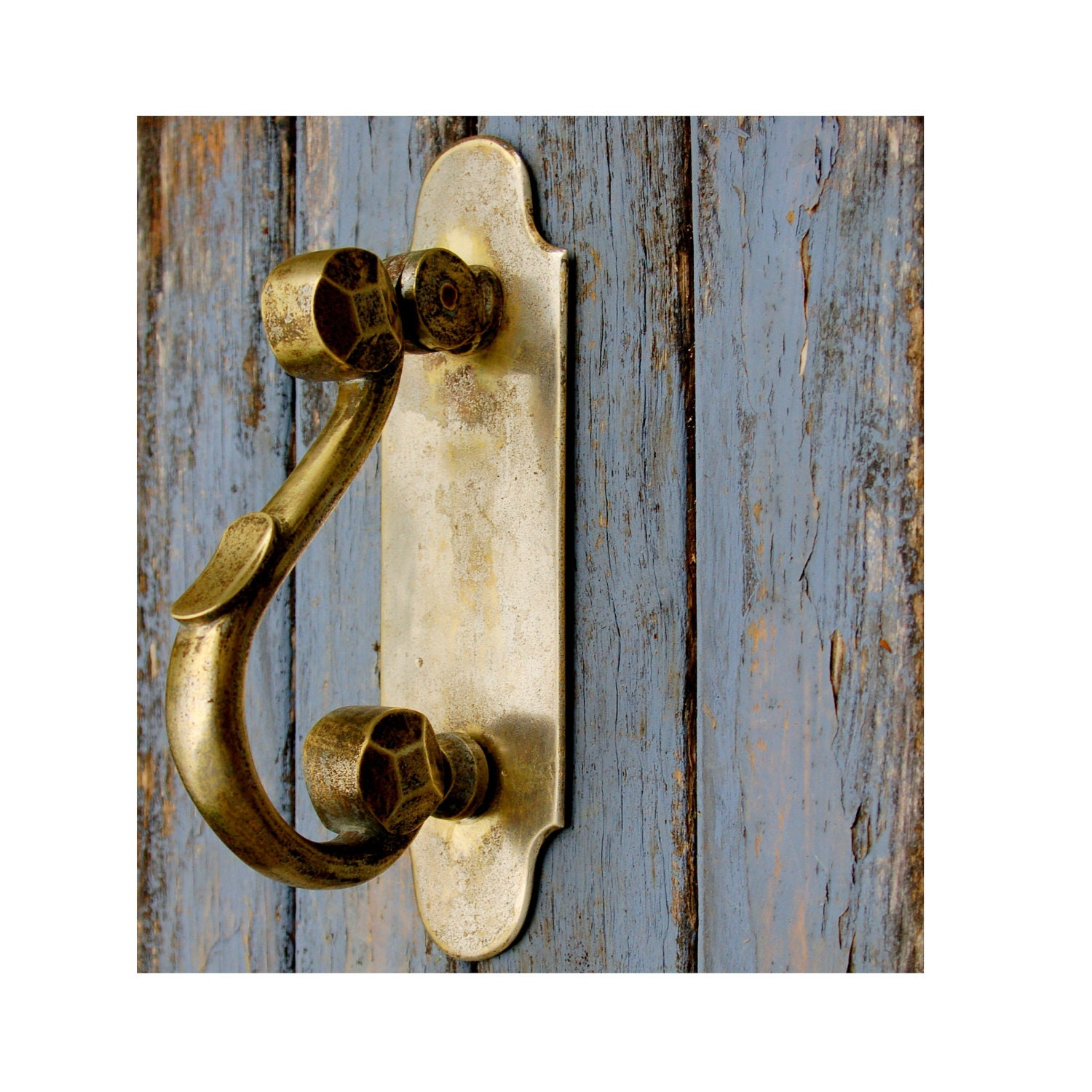 Antique Scrolling S Shaped Door Knocker French Brass