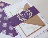 Wedding Invitation, Classic Wedding Invitations Suite, Vintage, Elegant, Purple, Custom Wedding Invitation Set - Bellevue Deposit