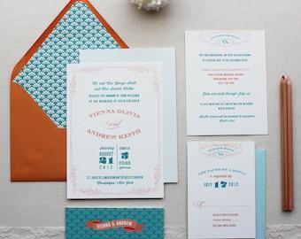 Art Deco Wedding Invitations, Wedding Invitation, 1920's, Classic Retro, Custom Wedding Invitation Suite - Antiquarian Sample