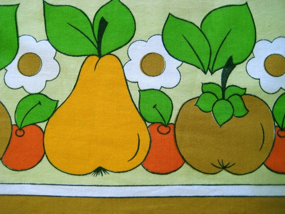 1970s Vintage Table Cloth Yellow Orange Brown Lime FRUIT MID CENTURY