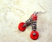 RESERVED Earrings womens jewelry Rojo red bead howlite Boho Bohemian wire-wrapped  industrial funky modern style TAGT tenX