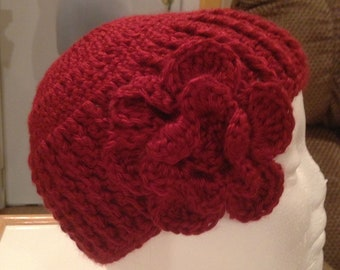 Burgundy Hat with Crocheted Flower