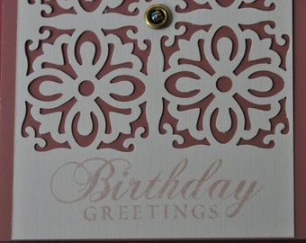 Birthday Card, earth tones with intricate cutout design