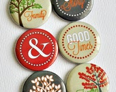 Family - set of six badges/ flair buttons