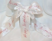 """HAPPY BIRTHDAY RIBBON - 3 Yards by 1&1/2"""" wide -Silky Fancy  .,  Stationery, Packages, Homemade Gifts, Tags, Cards, diy favor, Crafts, Party"""