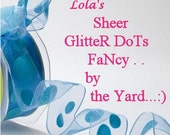 WiReD RibboN sheer GLITTER  DoT  -  BLUE FaNcY WIRED Ribbon   Pretty Packages and Gifts - Hairbows - Giftwrap - Bows