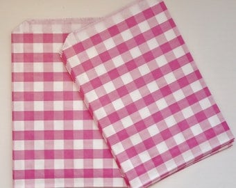 24 Pink Gingham Check Party Favor Bags, Candy Buffet, Wedding, Baby Shower. Treat Bags