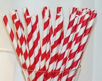 50 RED Striped Paper Straws, Paper Drinking Straws, Party,  Wedding, Birhday, Events