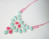 SUPER HUGE SALE used to be 56 Neon Pink and Pastel Hand Painted Rhinestone Necklace